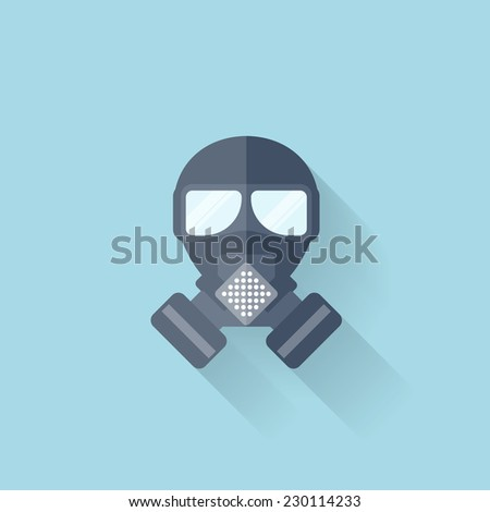 Flat web internet icon. Gas mask. - stock photo