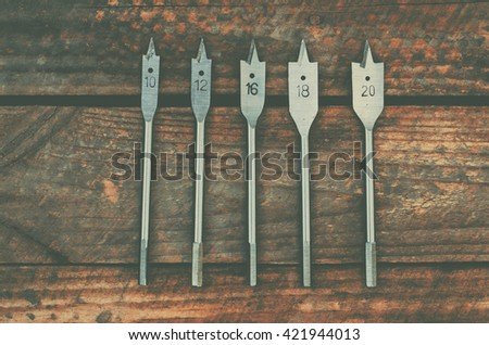 Flat wood bits, close up - stock photo
