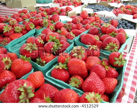 Flats of Strawberries - stock photo