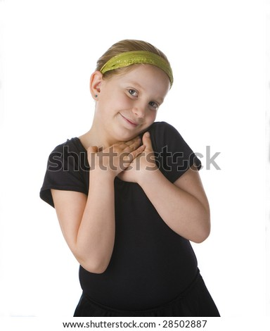 Flattered girl in black against a white background - stock photo