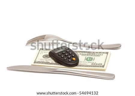 flatware dollars and pin calculator - stock photo