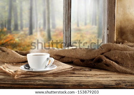 flavor of coffee and window sill  - stock photo
