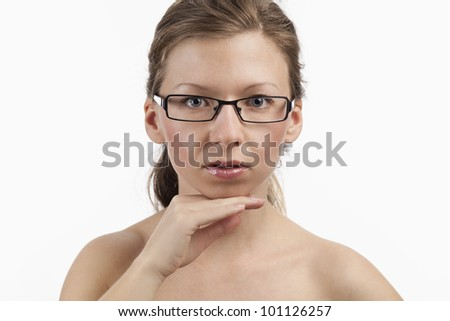 Flawless face of a young charming spectacle wearer - stock photo