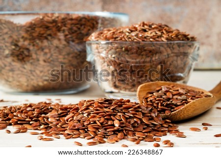 flax seed, selective focus  - stock photo