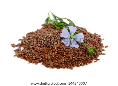 Flax seeds and flowers. - stock photo