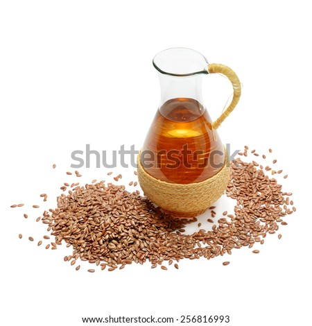 flax seeds and oil isolated on white background - stock photo