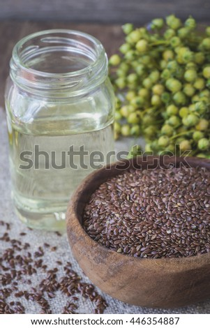 Flax seeds, flax and flaxseed oil  .Selective focus - stock photo