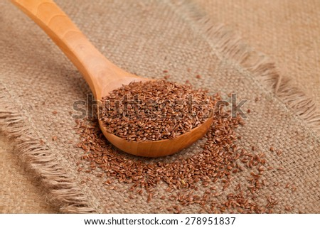 Flax seeds in a wooden spoon. Raw organic food full of good nutrients. - stock photo
