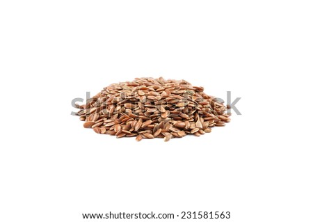 Flaxseed on white - stock photo
