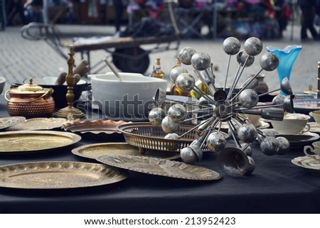 Flea market on Place du Jeu de Balle in Brussels, Belgium - stock photo