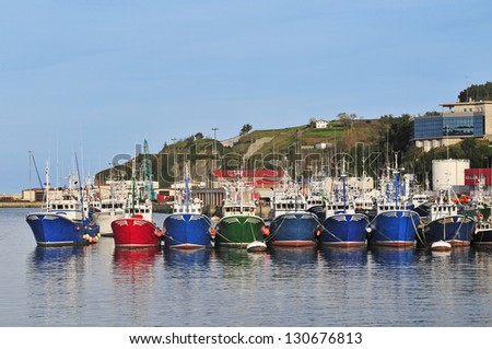 Fleet of fishing boats moored in the port of Bermeo Basque - stock photo
