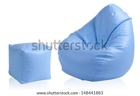 Flexible and adjustable seat beanbag with stool - stock photo