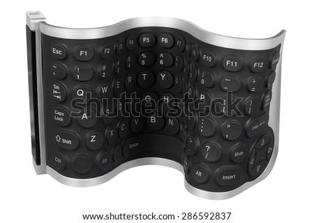 Flexible Computer Keyboard on White Background - stock photo