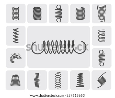 Flexible metal spiral springs flat icons set isolated  illustration - stock photo