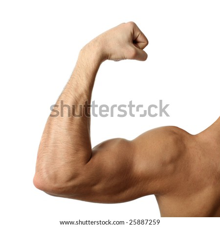 Flexing biceps isolated on white - stock photo