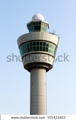 Flight control tower top - stock photo