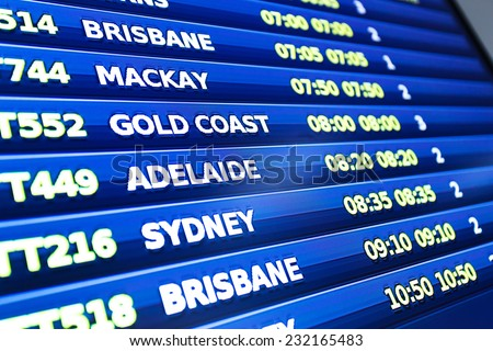 flight information display screen board - stock photo