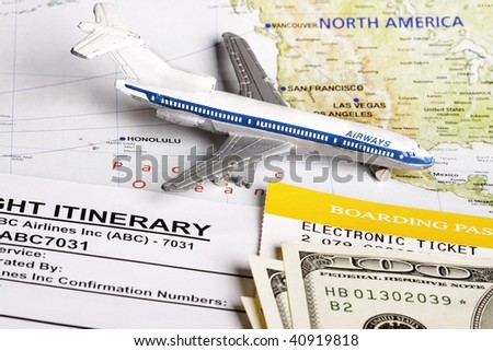 Flight itinerary to usa with toy airplane and map of usa. - stock photo