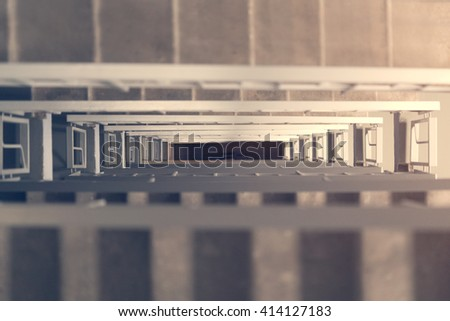Flight of stairs in the stairwell of a multi-storey house, the top view - stock photo
