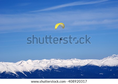 flight over the mountain - stock photo