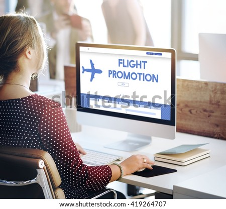 Flight Promotion Offer Plane Traveling Concept - stock photo