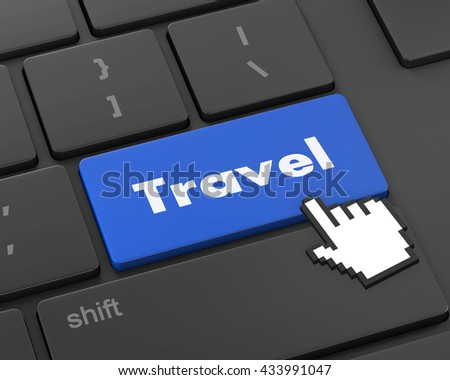 Flight sign in place of enter travel key, 3d rendering - stock photo