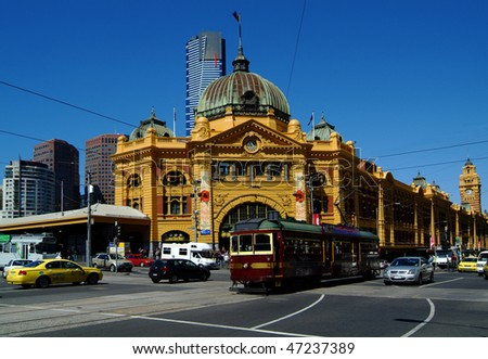 Flinders Street Station and City Circle Tram - stock photo