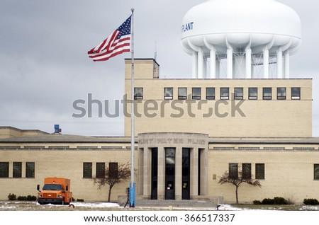 FLINT, MICHIGAN January 23, 2016: City Of Flint Water Plant In Flint, January 23, 2016,  Flint, Michigan - stock photo