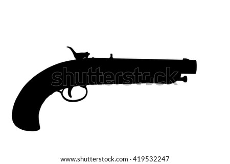 flintlock pistol silhouette isolated over a white background with clipping path at this size - stock photo
