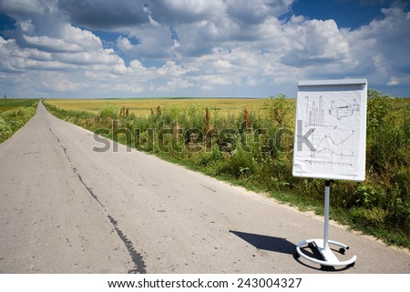 Flip chart on a road in a beautiful summer day - stock photo