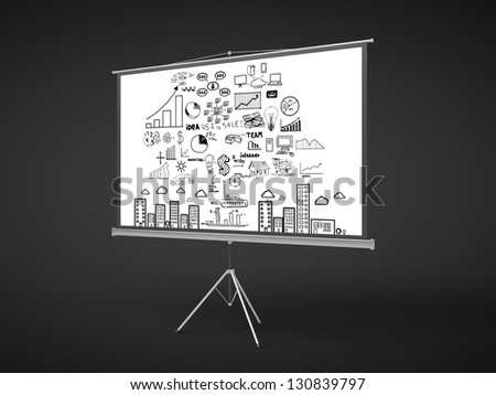 flip chart with business concept on a black background - stock photo