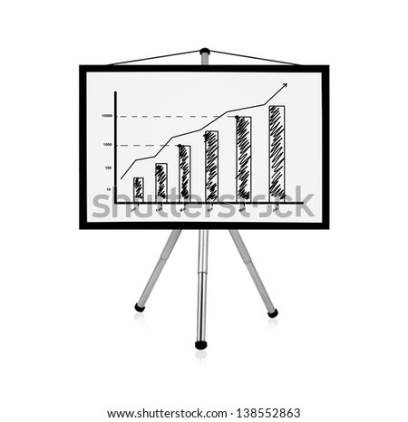 flip chart with drawing business charts - stock photo
