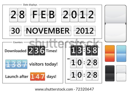 flip display date counters, clocks and counters - stock photo