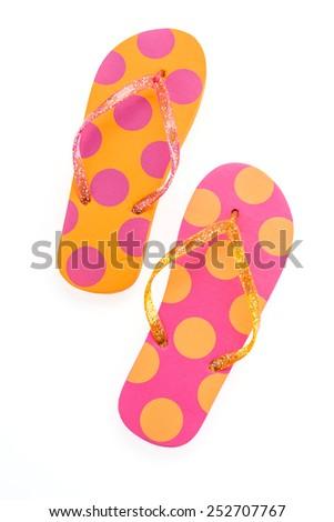 Flip flop fashion plastic shoes isolated on white background - stock photo