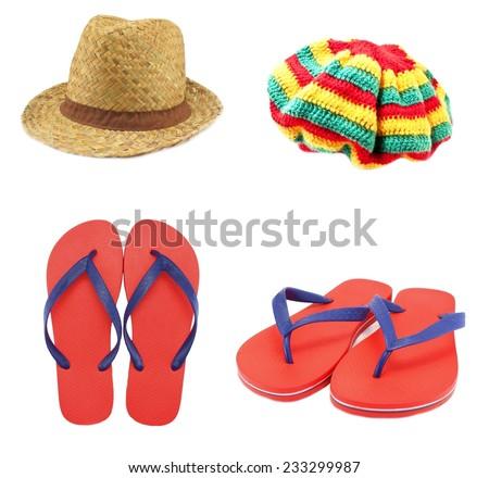 flip flop sandals beach hats - stock photo