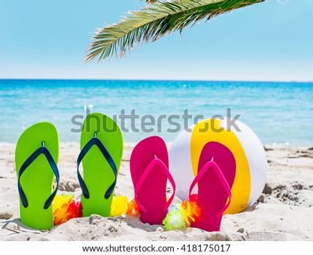 flip flops and palm tree by the sea on a sunny day - stock photo