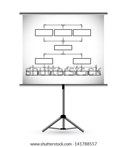 Flipchart in classroom illustration design over a white background - stock photo