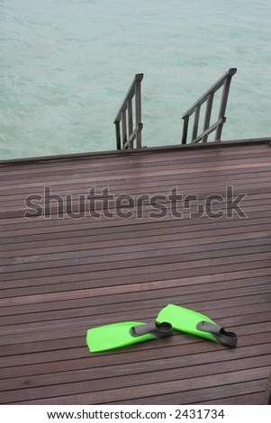 Flippers on Deck to Ocean - stock photo