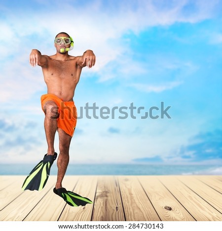 Flippers, young, swimmer. - stock photo
