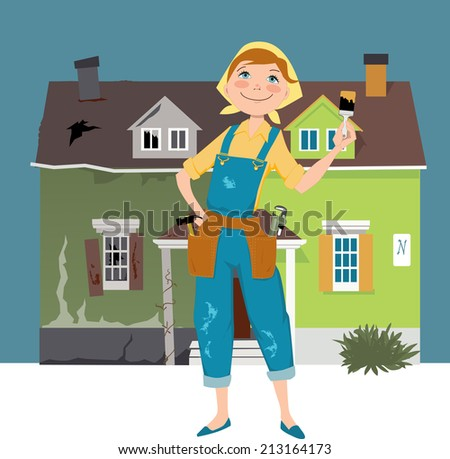 Flipping a house. Woman standing in front of a house, shown before and after renovation - stock photo