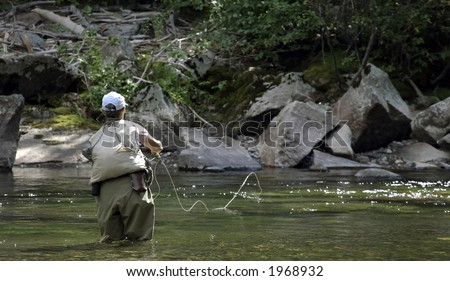 Flipping the Fly Line - stock photo