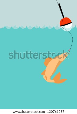 Float on the water fishing poster background with space - stock photo