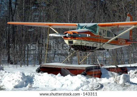 Float plan parked for the winter - stock photo