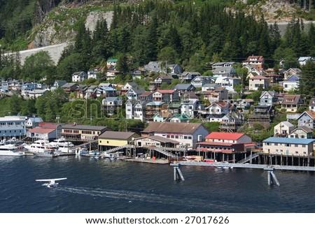 Float Plane landing in Ketchikan Alaska - stock photo