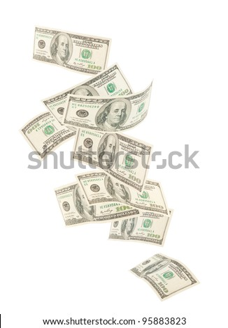 Floating American hundred notes isolated on white background - stock photo