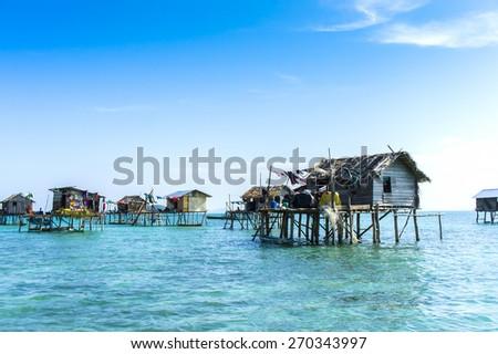 floating bajau village at sabah malaysia - stock photo