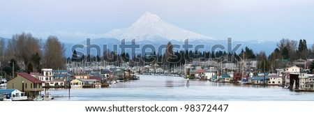 Floating Boat Houses Along Columbia River Gorge and Mount Hood Panorama - stock photo