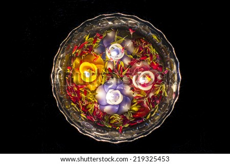 Floating candle decoration  - stock photo