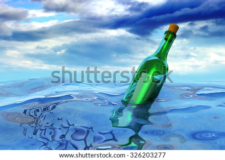 Floating green glass wine bottle with a secret message in the open sea with a sky and clouds - stock photo