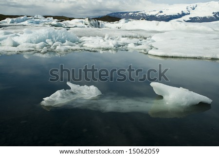 Floating ice at glacier lagoon - stock photo